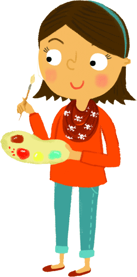 Girl with paintbriush and palette