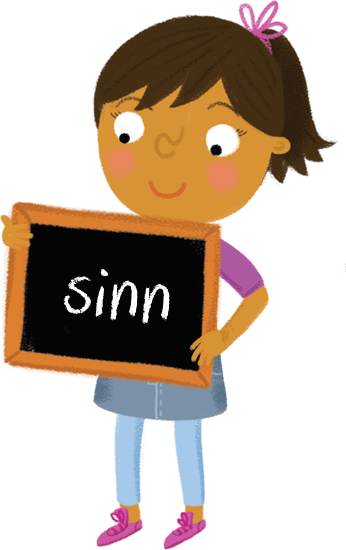 Illustration: Schoolgirl holding chalkboard with 'sinn' on it