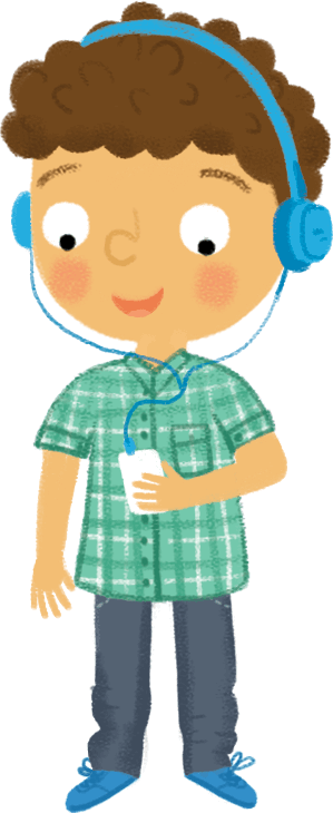 Illustration: boy with headphones and mediaplayer