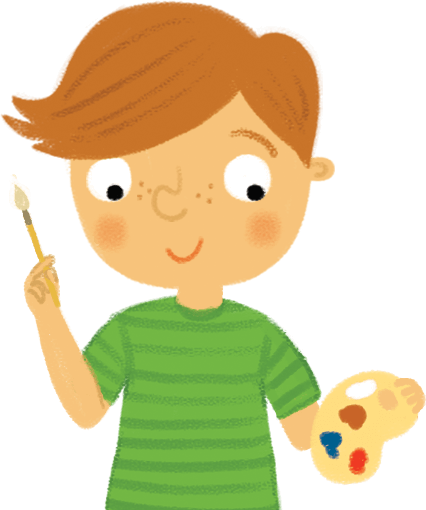 Illustration: Schoolboy with palette and brush