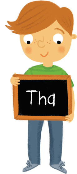 Illustration: Boy holding chalkboard with word 'Tha'