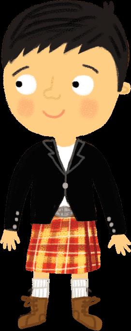 Illustration: Boy wearing kilt