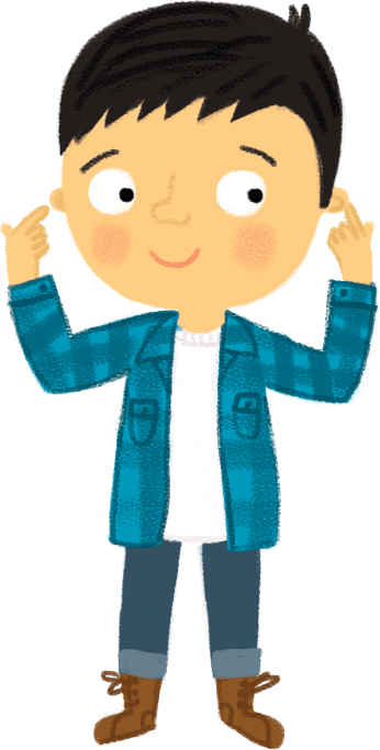 Illustration: Boy pointing to his ears