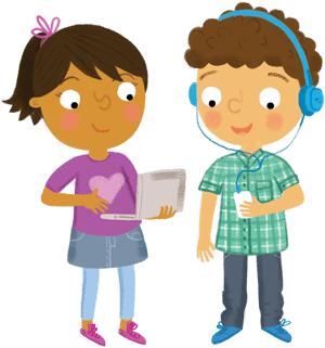 Two children with laptop and MP3 player