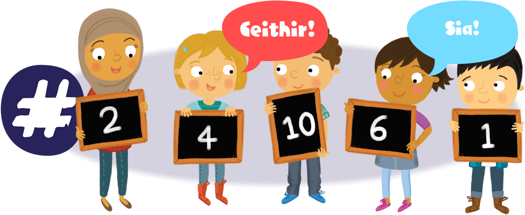 Group of children holding numbers