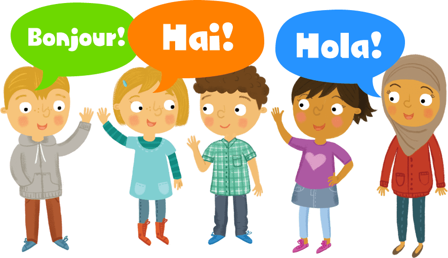 Group of children greeting each other in different langauges