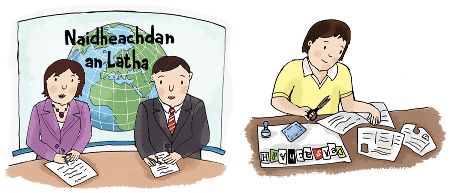 Illustration: Gaelic News Readers and woman creating collage