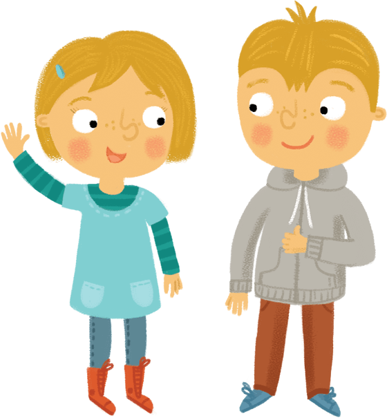 Illustration - Boy and girl greeting each other