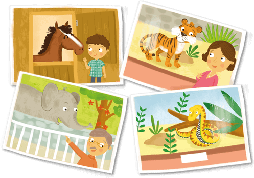 Illustrations - Animals - horse, tiger, elephant and snake