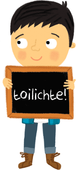 Boy holding blackboard with text Toilichte (Happy)