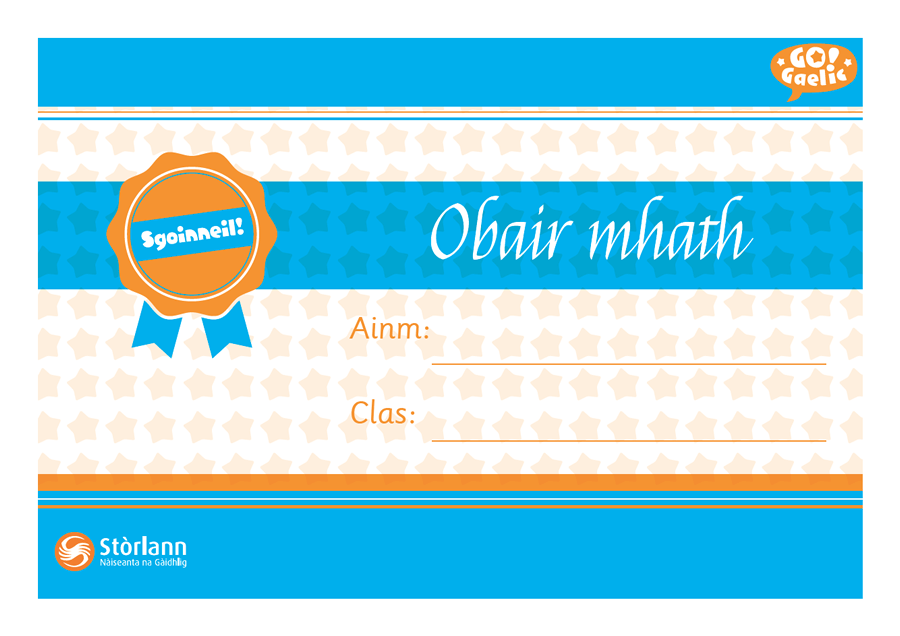 Image: Certificate with 'Obair Mhath' text