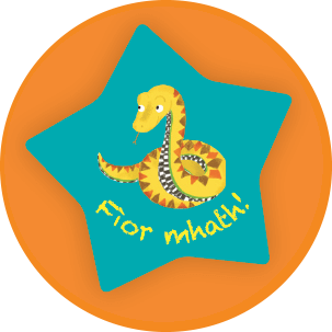 Image: Sticker with 'Fior Mhath' written on it