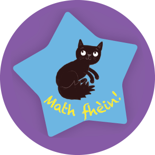 Image: Sticker with 'Math Fhein' written on it