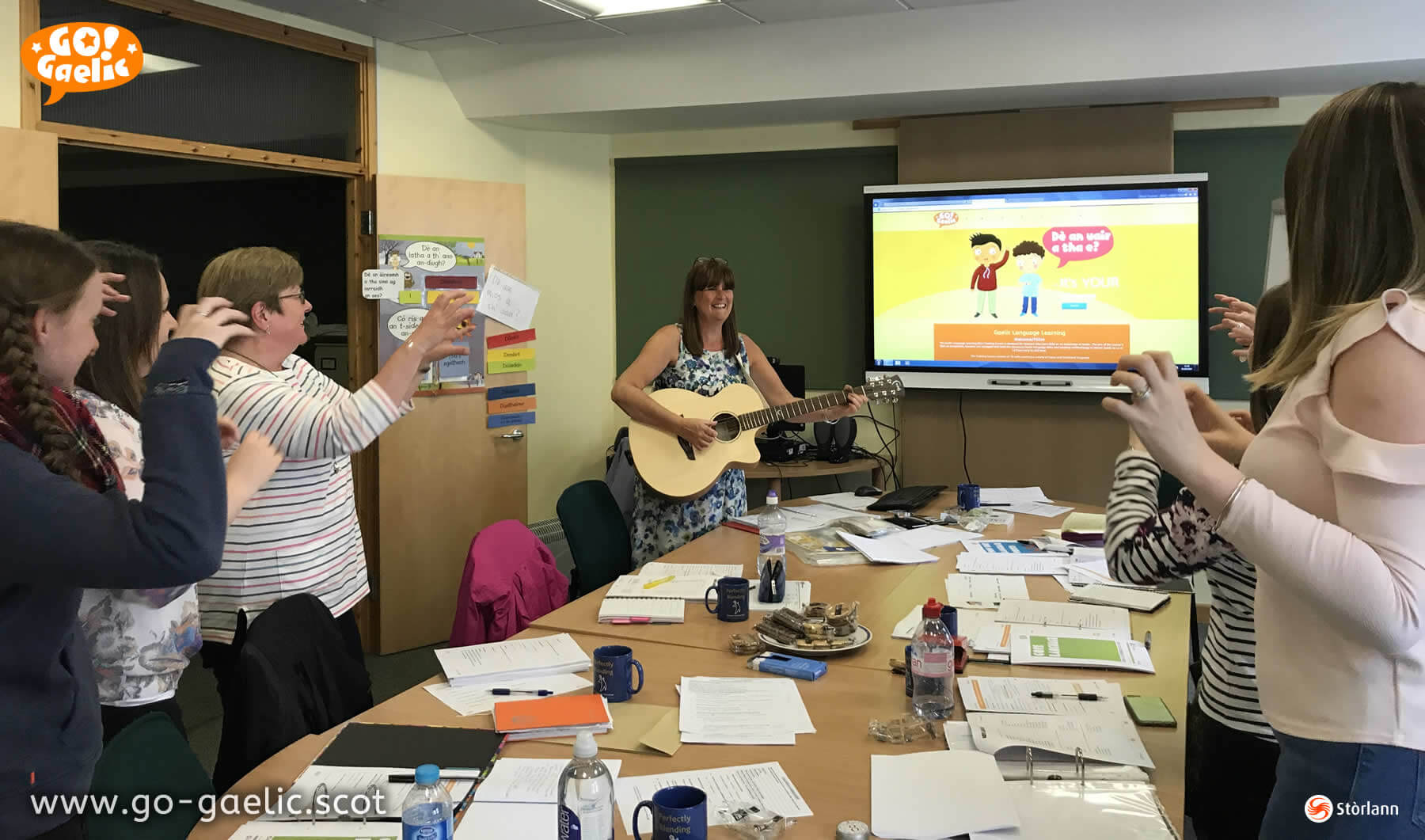 Active learning: Jackie Mullen leads the teachers in dramatic song as part of the Go! Gaelic resource training